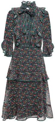 Mikael Aghal Pussy-bow Ruffled Floral-print Voile Dress
