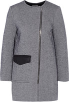 Sandro Maela leather-trimmed cotton-blend coat