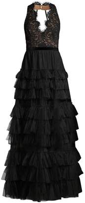 BCBGMAXAZRIA Long Tiered Tulle Evening Dress