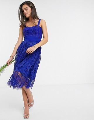 French Connection Sleeveless Bridesmaid Dress in Clement Blue