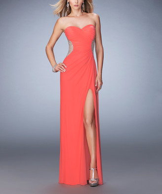 La Femme Women's Special Occasion Dresses Pink - Pink Grapefruit Bead Mesh Strapless Sweetheart Gown - Women