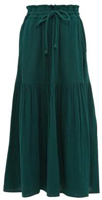 Apiece Apart Gailicia Shirred Waist Cotton Muslin Midi Skirt - Womens - Dark Green