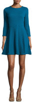 Shoshanna 3/4-Sleeve Fit-and-Flare Jacquard Dress, Teal