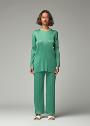 Pleats Please Issey Miyake Women's A-Line Long Sleeve Tunic Top in Green Size 3