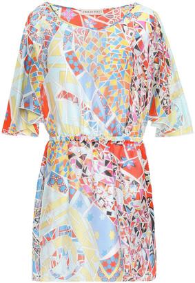 Emilio Pucci Draped Printed Silk-georgette Mini Dress