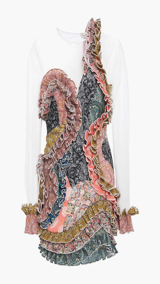 Zimmermann Ninety-six Spliced Tulle-paneled Ruffled Printed Plisse-organza Mini Dress