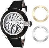Glam Rock Women's GR32083 SoBe White Dial Black Leather Watch