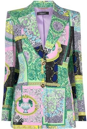 Versace Mix-Print Single-Breasted Blazer