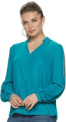 JLO by Jennifer Lopez Women's Slit-Sleeve Pleated Popover Top