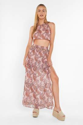 Nasty Gal Womens Have I Told You Paisley Cover-Up Crop Top And Skirt Set - Pink - 6, Pink