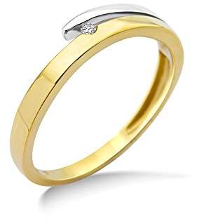 N. Miore Ladies 9ct Two Tone Gold Diamond Engagement Ring - Size