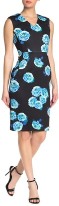 T Tahari Sleevelesss Floral Print V-Neck Dress