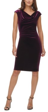 Vince Camuto Velvet Cowlneck Side-Ruched Bodycon Dress