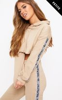 PrettyLittleThing Petite Taupe PLT Cropped Hoodie