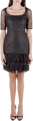 Marchesa Black Lace Ruffle Tiered Hem Feather Insert Cocktail Dress M
