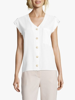 Betty & Co Button Front Cap Sleeve Blouse, Bright White