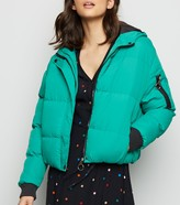 New Look Blue Vanilla Hooded Cropped Puffer Jacket