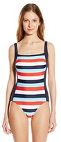 Tommy Hilfiger Women's Slide Stripe Square Neck One Piece Swimsuit