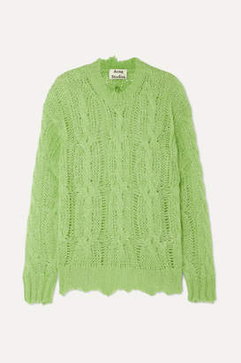 Acne Studios Kelenal Frayed Cable-knit Sweater - Lime green