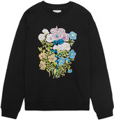 Christopher Kane Floral Embroidered Cotton-jersey Sweatshirt - Black