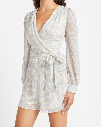 Express Floral Pleated Wrap Front Romper