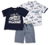 Nannette Boys 2-7 Three-Piece Printed Shirt, Tee and Textured Shorts Set