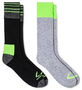 Champion Men's Outdoor Socks 2pk Gray with Green color block asst 6-12