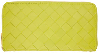 Bottega Veneta Green Intrecciato Zip Wallet