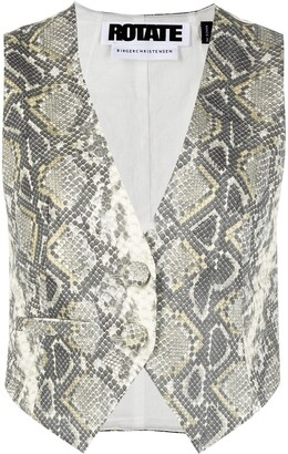Rotate by Birger Christensen Snakeskin-Print Two-Button Waistcoat