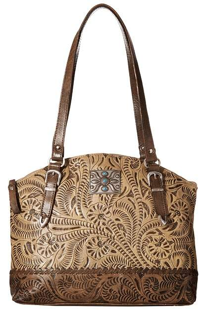 American West Annie's Secret Zip Top Half Moon Tote w/ Secret Compartment Tote Handbags