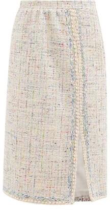Giambattista Valli Lace-trimmed Cotton-blend Tweed Midi Skirt - Blue Multi