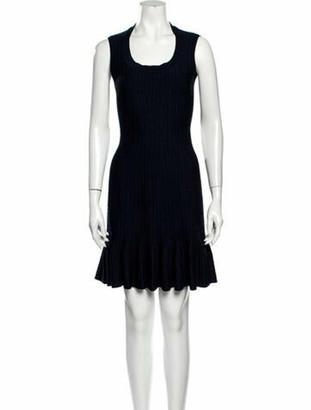 Alaia Scoop Neck Mini Dress Blue