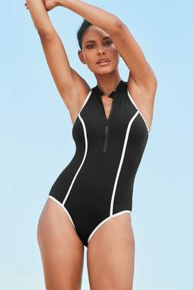 Next Womens Black High Neck Zip Front Swimsuit - Black