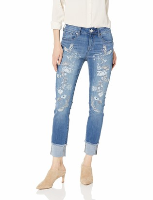 """7 For All Mankind Seven7 Women's 28"""" Slim Straight w/Single Cuff and Embroidery"""