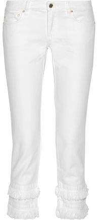 Michael Kors Fringe-trimmed Low-rise Slim-leg Jeans