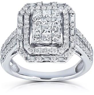 Annello by Kobelli 14k White Gold 1ct TDW Rectangular Frame Diamond Cluster Ring