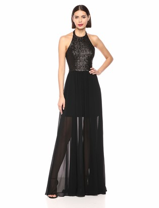 Dress the Population Women's Farah Sequin Halter Fit & Flare Long Gown Dress