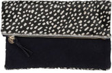 Clare Vivier Ladybug Calf-Hair Fold-Over Clutch Bag, Black