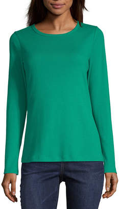 ST. JOHN'S BAY Womens Crew Neck Long Sleeve T-Shirt