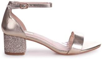 Linzi LOLLIE - Gold Metallic Heavy Glitter Block Heeled Sandal