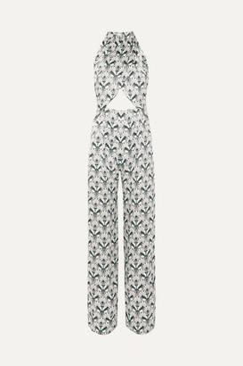 Seren - Soiree Cutout Printed Silk-satin Jumpsuit - White