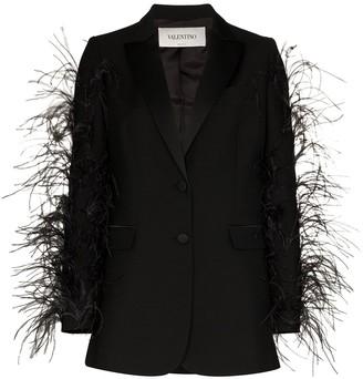 Valentino Feather-Sleeve Blazer Jacket