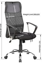 United Chair 8074-BK High-Back Swivel Mesh/PU Seat Computer Swivel Lumbar Support Executive Office Chair with Seat Height Adjustment, Black