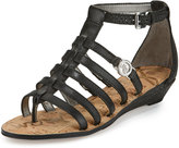 Sam Edelman Donna Leather Gladiator Demi-Wedge Sandal, Black