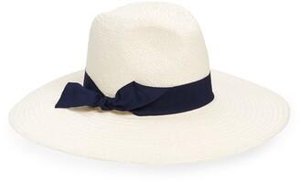 Halogen Wide Grosgrain Band Straw Panama Hat