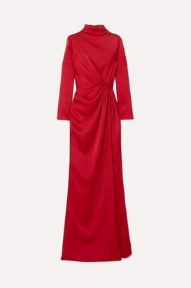 Rasario Wrap-effect Draped Satin Gown - Burgundy