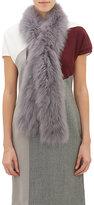 Barneys New York Women's Fur Pull-Through Scarf-GREY