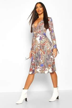 boohoo Paisley Print Wrap Midi Dress