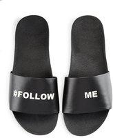Schutz Shoes Follow Me Leather Slide Sandal, Black/Silver