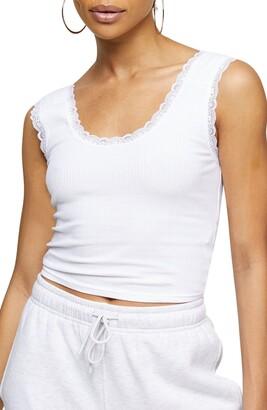 Topshop Lace Trim Crop Camisole